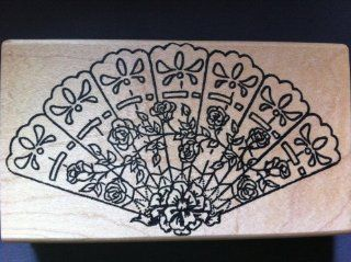 Large Folding Fan with Roses Rubber Stamp