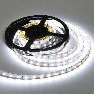 LEDwholesalers Brightest 16 Feet Flexible LED Strip with 300xSMD5630 LED White PCB Backing, White, 20104WH: Home Improvement