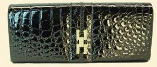 """Stylish Italian Designer Black Crocodile Clutch Purse   Vecceli Italy, Designed by Ronella Lucci (CL 109)   10"""" x 5"""" Clothing"""