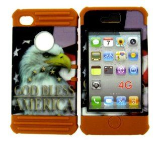BUMPER COVER FOR APPLE IPHONE 4 4S HARD CASE AMERICAN FLAG EAGLE LTRDE107 BROWN SILICONE SKIN Cell Phones & Accessories