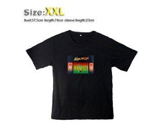 113 Fashion Sound Activated Light up down LED EL Short sleeved T shirt with XXL (Black): Home Improvement
