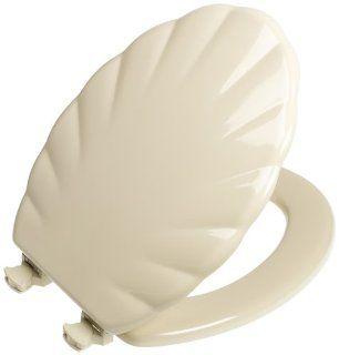 Mayfair 122EC 006 Designer Series Shell Wood Toilet Seat with Easy Clean Hinges, Elongated, Bone