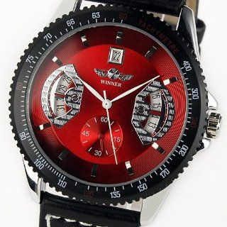 ESS New Gents Automatic Mechanical Wrist Watch with Black Leather Strap Red Dial WM122: ESS: Watches