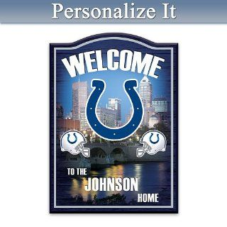Officially Licensed Indianapolis Colts Personalized Wooden Welcome Sign   Wall Pediments