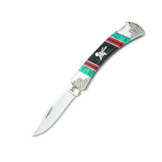 Buck Knives 110YISLE Yellowhorse Rising Wisdom Folding Hunter Lockback Knife with Custom Black Jett, Orange Spiny Oyster, & Turquoise Handles: Sports & Outdoors