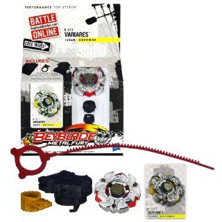 Hasbro Year 2012 Beyblade Metal Fury Performance Battle Tops   Defense 145WB B 151 VARIARES with Face Bolt, Variares Energy Ring/Fusion Wheel, 145 Spin Track, WB Performance Tip and Ripcord Launcher Plus Online Code: Toys & Games