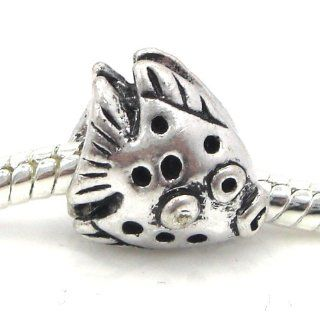"Jewelry Monster Antique Finish ""Polka Dot Fish"" Charm Bead for Snake Chain Charm Bracelet"