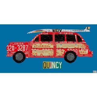 Oopsy daisy License Plate Woody with Surfboard Canvas Wall Art by Aaron Foster, 36x18 in: Baby