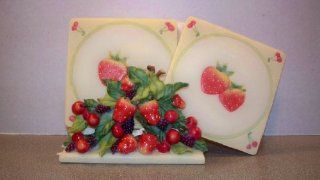 A. Richesco Corporation MH 152 Strawberries and Grapes Coasters Set of 4   Collectible Figurines