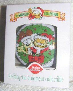 Garfield and Odie in Wreath Tin Christmas Ornament From Dairy Queen 2001 : Decorative Hanging Ornaments : Everything Else
