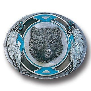 Native American Indian Inspired Wolf Head Framed By Feathers Enameled Belt Buckle Jewelry