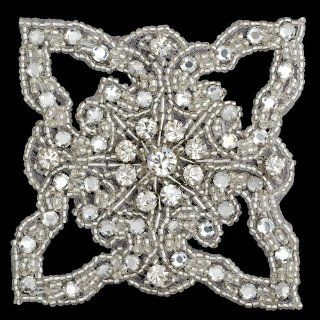 "Rhinestone Beaded Applique, Beaded Patch, 3 1/4"", CRYSTAL/SILVER, FF J06 176"