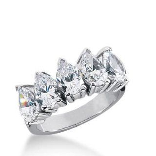 14K Gold Diamond Anniversary Wedding Ring 5 Pear Shaped Diamonds 2.50ctw 182WR37214K: Wedding Bands Wholesale: Jewelry