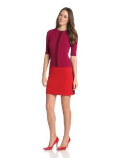 Donna Morgan Women's Jewel Neck Drop Waist Color Block Dress at  Women�s Clothing store
