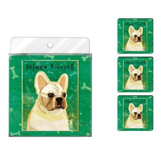 Tree Free Greetings NC38065 John W. Golden 4 Pack Artful Coaster Set, White French Bulldog: Kitchen & Dining