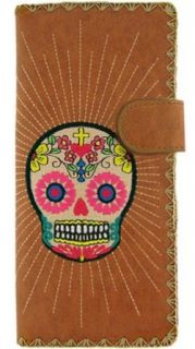 Lavishy Embroidered Mexican Sugar Skull Tattoo Checkbook Vegan Brown Wallet: Lavishy: Clothing