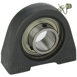 "Hub City TPB250URX1 3/16 Tapped Base Pillow Block Mounted Bearing, Normal Duty, Relube, Setscrew Locking Collar, Narrow Inner Race, Cast Iron Housing, 1 3/16"" Bore, 1.181"" Length Through Bore, 3"" Mounting Hole Spacing, 1.687"" Base To He"