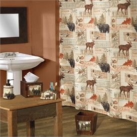... Vintage Outdoors Moose And Bear Shower Curtain And Bath Accessories ...