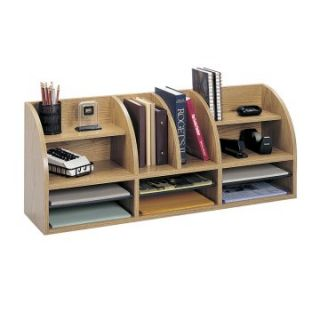 Safco 38 in. Wide Radius Front 11 Compartment Desktop Organizer   Oak   Office Desk Accessories