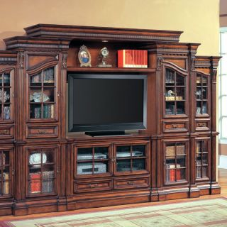 Parker House Napoli 50 Inch Entertainment Center with Curio Side Piers   Entertainment Centers