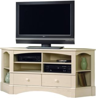 Sauder Harbor View Corner Entertainment Credenza Antiqued White   TV Stands