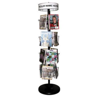 Black 16 Pocket Magazine Spinner   Commercial Magazine Racks