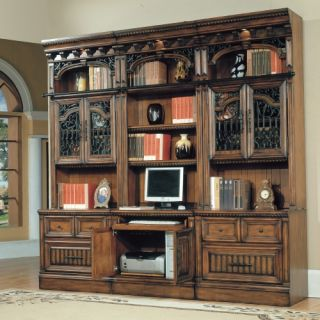 Parker House Barcelona 6 Piece Bookcase with Glass Doors and PC Desk   Antique Vintage Walnut   Bookcases