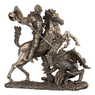 Design Toscano 10.5 in. St. George Slaying the Dragon Sculpture   Sculptures & Figurines