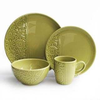 Bela Mesa Crochet Green 16 Piece Dinnerware Set   Dinnerware Sets