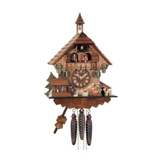 River City Clocks MD498 14 Waterwheel Turns with Boy and Girl Kiss Musical Cottage Cuckoo Clock   Cuckoo Clocks