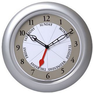 Contemporary Silver 13.25 in. Wall Day Clock   Wall Clocks