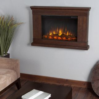Real Flame Jackson Slim Line Wall Hung Electric Fireplace   Vintage Black Maple   Electric Fireplaces