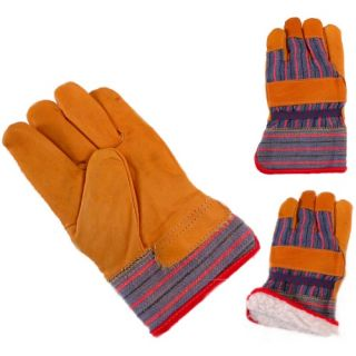 Jemcor Full Grain Cow Leather 2.5 in. Band Sherpa (BOA) Fully Lined Top Heavy Duty L Work Glove   Work Gloves