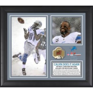 Calvin Johnson Detroit Lions Franchise Career Receiving Yardage Record Framed 15 x 17 Collage with Game Used Ball   Limited Edition of 500