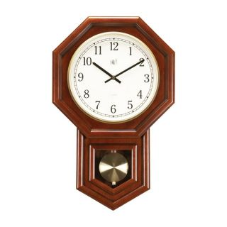River City Clocks Schoolhouse Radio Controlled Clock with Pendulum   Wall Clocks