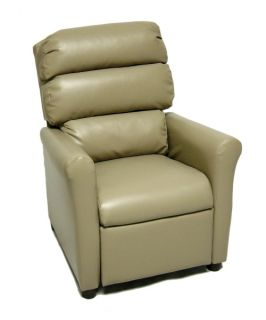 Brazil Furniture Waterfall Back Child Recliner   Vinyl Taupe   Kids Recliners