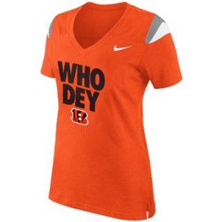 Nike Cincinnati Bengals Ladies Who Dey V Neck Fan Top   Orange