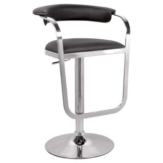 Chintaly Colby Pneumatic Gas Lift Adjustable Height Swivel Bar Stool   Black   Bar Stools