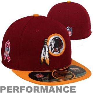 New Era Washington Redskins Breast Cancer Awareness On Field 59FIFTY Fitted Performance Hat   Burgundy/Gold