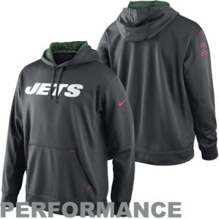 Nike New York Jets Breast Cancer Awareness Performance Pullover Hoodie   Charcoal