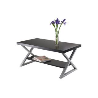 Winsome Korsa Coffee Table with Black Top and Metal Legs   Coffee Tables