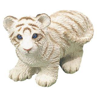 Sandicast Small Size White Tiger Cub Sculpture   Garden Statues
