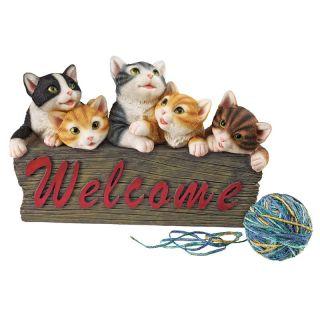 Kitten Kaboodle Cat Welcome Sign   Garden Statues