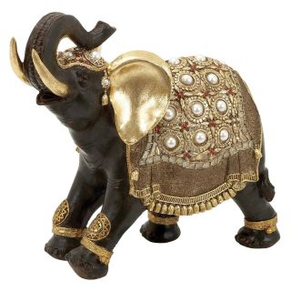 Indian Style Polystone Decorative Elephant with Gold Accents   Sculptures & Figurines