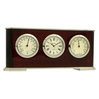 Bey Berk International Rosewood Weather Station Desktop Clock   Desktop Clocks