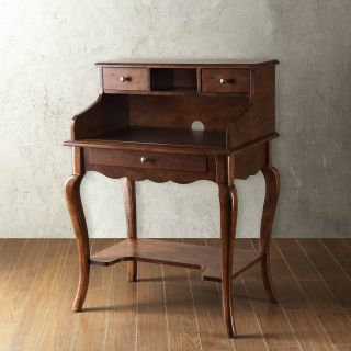 Homelegance Secretary Desk with Hutch   Brown Cherry   Writing Desks