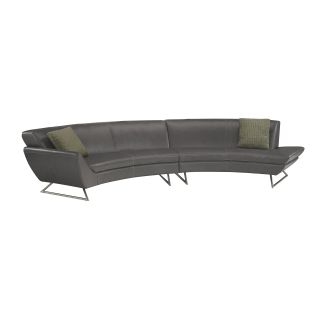 Lazar Lugano Leather Sectional Sofa with Accent Pillows   Sectional Sofas
