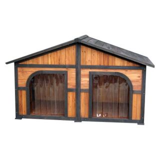 Merry Products Darker Stain Duplex Dog House   Dog Houses