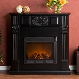 Southern Enterprises LaSalle Carved Black Electric Fireplace   Electric Fireplaces