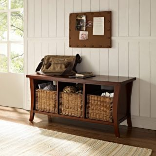 Crosley Wallis Entryway Storage Bench   Mahogany   Indoor Benches